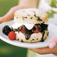 Strawberry shortcake's chocolatey cousin: Chocolate-chip Shortcakes with Berries and Dark Chocolate Sauce