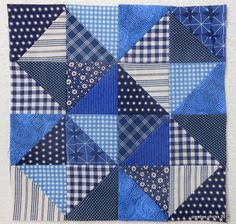 half square triangle in blues    by simple girl, simple life, via Flickr