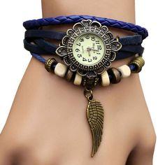 Sannsis 1PC Blue Vintage Womens Leather Quartz Wing Beads Wrist Watches