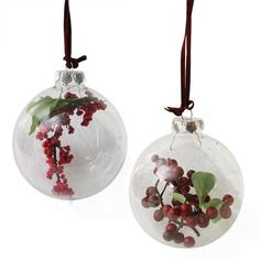 """Set of 2 Clear Glass Christmas Ball Ornaments with Red and Burgundy Berries 3.5"""""""""""