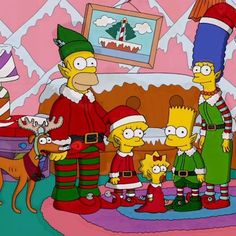 Santa's little Helper, Homer, Lisa, Bart, Maggie and Marge Simpson.