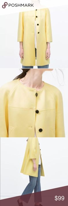 Gorgeous Zara Yellow Pastel Coat Size: Large Gorgeous Zara Yellow Pastel Coat  Size: Large Flare Cut Long Bell Sleeves Button Closure Composition Outer Shell 65% Polyester 31%Viscose 4%Elastane Zara Jackets & Coats