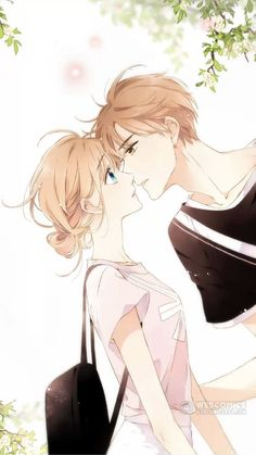 Love is a Cherry Color Anime Love, Anime Guys, Love Kiss, Manhwa Manga, Cherry Blossoms, Anime Couples, Cute Cartoon, Webtoon, Cute Pictures