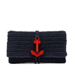 """BLACK CROCHET ANCHOR CLUTCH "" https://sumally.com/p/254012"