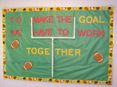 "Football Bulletin Board Ideas | Make sure that you get a ""T"" connector, and 2 curved connectors so ..."