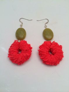 SALE Coral Fabric Dangled Earrings with Green Beads by LaMonaMossa