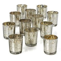 36 Silver Mercury Votives $65