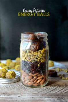 DIY Holiday in a Jar: Cherry Pistachio Energy Balls | Fit Foodie Finds Healthy Holiday Recipes, Healthy Snacks, Healthy Eating, Granola, The Healthy Maven, Protein Ball, Meals In A Jar, Jar Gifts, Food Gifts