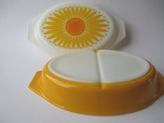 Vintage Pyrex Yellow Orange Daisy Divided Casserole  by jenscloset, $28.50
