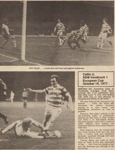 Celtic 2 SSW Innsbruck 1 in Oct 1977 at Parkhead. Action from the European Cup Round, Leg tie. Celtic Fc, European Cup, Innsbruck, Champions League, Nostalgia, Action, Baseball Cards, Glasgow, Football