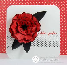 handmade card ... Dynamic Duos Color Challenge: Poppy Parade and Basic Black ... one of my favorites for drama ... gorgeous flower made by stamping and embossing several times, cutting out and theg layering ...