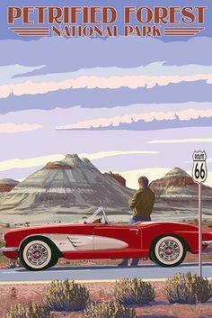 Petrified Forest National Park, Arizona - Route 66 - Corvette - Lantern Press Artwork