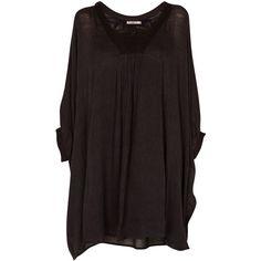 Mes Demoiselles Joyeuse Tunic Dress ($193) ❤ liked on Polyvore featuring dresses, tops, black, kohl dresses, cotton poncho, black cotton dress, poncho dress and black dress