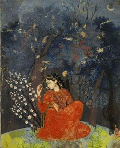Raga Utka Nayika  _ The Expectant Heroine. A lady awaits her lover in the forest at night. ca 1775-1780. Kangra, India.