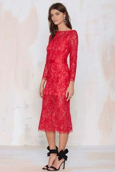 Nasty Gal Because the Night Lace Dress - Going Out | Midi + Maxi | Body-Con | Dresses | Lace Dresses