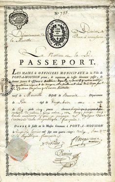 Passeport d'Antoine Depouilly délivré par le département de la Meurthe (1793)