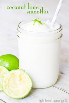 Coconut Lime Smoothie. #drink #recipe http://www.highheelsandgrills.com/2014/05/coconut-lime-smoothie.html