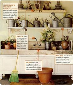 Beautiful compilation of various potting benches for ideas and gardening inspiration.