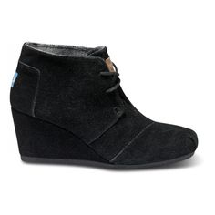 TOMS Black Suede Women's Desert Wedges Size 11 ($89) ❤ liked on Polyvore
