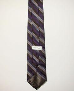 CK Calvin Klein Mens Purple Tan Striped 100% Silk Dress Neck Necktie Tie 58in #CalvinKlein #Tie