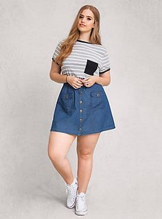 Chambray Button Front Mini Skirt, MEDIUM WASH. Plus size fashion for curvy engineers.