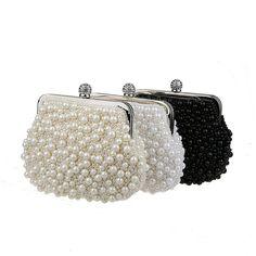 Handmade Faux Pearl Bead Rhinestone Clutch Women Purse Handbag Party Evening Bag