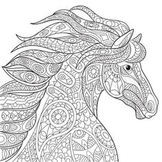 Stock vector of 'Zentangle stylized cartoon horse (mustang), isolated on white background. Hand drawn sketch for adult antistress coloring page, T-shirt emblem, logo or tattoo with doodle, zentangle design elements.'