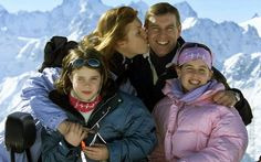 The Duke and Duchess of York with Princesses Beatrice and Eugenie on a ski holiday at the Swiss resort of Verbier