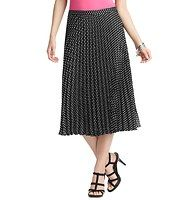 """Petite Polka Dot Pleated Mid Length Skirt - Sweetly pleated—and hitting below the knee for versatile styling—this polka dotted confection channels retro charm. Side zip. Lined. 26 1/2"""" long."""