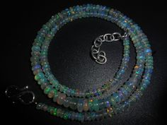 36.80 Ct Ethiopian Welo Blue Fire Natural Opal Smooth Rondelle Beads Necklace  #Unbranded