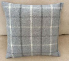Lewis tartan check faux wool grey scatter cushion cover hand made in Britain