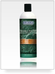 Marble Polish - An easy-to-use polishing compound for marble restores gloss and removes lite etches/ring marks caused by acidic fluids.  Use for the care and restoration of: table tops, countertops, fireplace hearths, vanities, walls, bar tops.     Always test on a small area to ensure desired results.  Use rubber gloves.  Not to be used on granite surfaces. $29.95