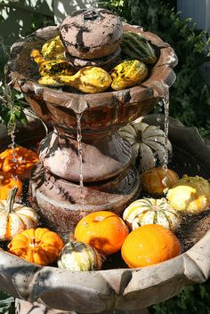 Absolutely LOVE this for an outside fountain and season decoration (green apples for spring, lemons for summer, pumpkins and gourds for fall, silk poinsettias for winter)