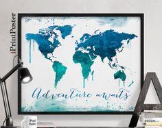 Welt Karte Poster Aquarell Welt abzubilden Art von iPrintPoster