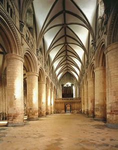 Gloucester Cathedral nave ~ a superb example of the Romanesque style found in the twelfth century. Cathedral Architecture, British Architecture, Romanesque Architecture, Beautiful Architecture, 3d Building, Church Building, Travel Around The World, Around The Worlds, Gloucester Cathedral