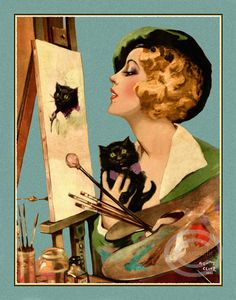 Art Deco Artist Girl Painting a Portrait of by DragonflyMeadowsArt