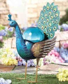 Peacock Blue Gazing Ball Metal Garden Stake  $17.99 www.AllThingsPeacock.com
