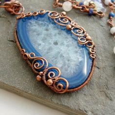 Poseidon Under the Sea Necklace Agate slice by Abbyjewellery