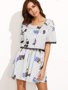 Striped Cold Shoulder Printed Fake Two Piece Dress