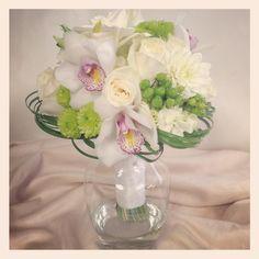 White and green bridal bouquet. Designed by Rebekah at Ballard Blossom, Seattle Wedding Flowers, Seattle Florist.