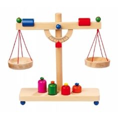 Balkenwaage / Kinderwaage made of wood, perfect accessories for the grocery store, . Toys For Girls, Kids Toys, Wooden Toy Shop, Diy For Kids, Crafts For Kids, Weighing Scale, Market Stalls, Learning Toys, Toys Shop