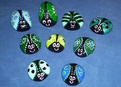 Blue and green toned Doodlebugs, painted by Dixie Andrew.