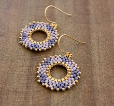 Lilac and Lavender Gold Beaded Hoop Dangle by lamaisondefloria