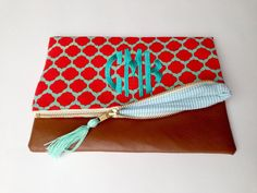 Monogrammed Crossbody Clutch in Red and by BluegrassGrace on Etsy