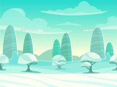 Funny Cartoon Winter Landscape