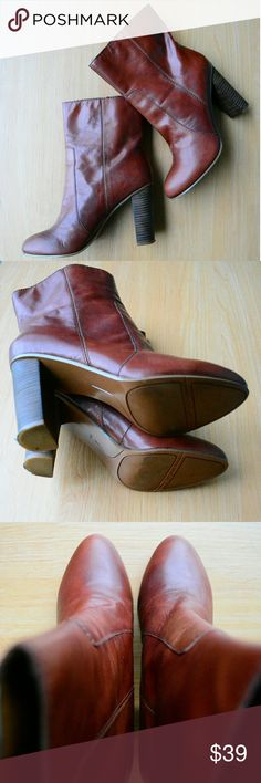 Nine West Otilla Brown Leather 4in Heel Shoes Lightly Used, Good Condition, Nine West Otilla Brown Leather 7.5M / 4inch Heel Shoes  - 10inch Total Height (Bottom of the Heel - Shoe Opening)  - 6inch Ankle Height (Top of Heel - Shoe Opening)  ***Without Original Box*** Nine West Shoes Ankle Boots & Booties