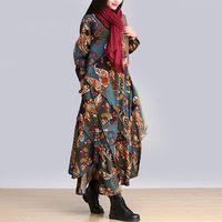 2015 Autumn Winter Women Vintage Long Cotton Gypsy Boho Dress Bohemian Oversized Red Gipsy Dresses Patterns Plus Size M L XL