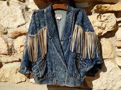 Learsi Acid Washed Denim Mens Medium Jacket Leather Fringe by MyFrenchTexas on Etsy
