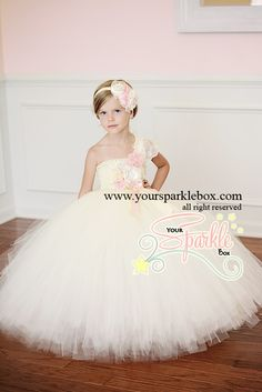 Ivory and Pink Flower Girl Dress by Yoursparklebox