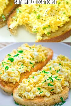 This Scrambled Egg Toast is so easy to make, filling, and so incredibly tasty, that it is going to make your morning better. Egg Recipes, Brunch Recipes, Baby Food Recipes, Breakfast Recipes, Cooking Recipes, Breakfast Sandwiches, Free Recipes, Breakfast Desayunos, Mexican Breakfast
